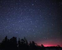Paysage rural d'hiver la nuit avec des arbres et des étoiles Images stock