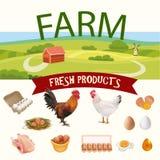 Paysage rural de ferme avec les icônes réalistes de poule, de coq et d'oeufs Illustration de vecteur Photo stock