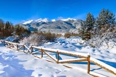 Paysage rural de montagne de neige d'hiver, copyspace photo stock