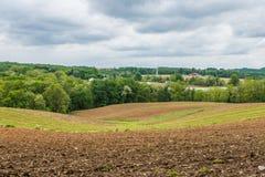 Paysage rural des terres cultivables du comté de Hartford dans le Maryland du nord photos libres de droits