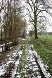 Paysage rural en hiver, promenade de campagne photographie stock libre de droits
