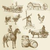 Paysage rural, ferme, moulin à vent tiré par la main illustration stock