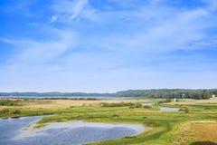 Paysage russe rural Rivière de Sorot images stock