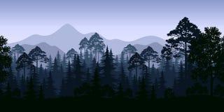 Paysage sans couture, arbres et montagnes Photographie stock libre de droits
