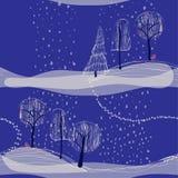 Paysage sans couture de fond d'hiver avec des arbres Photo stock