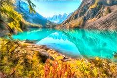 Paysage scénique délicieux de montagne et un lac propre illustration de vecteur