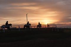 Paysage silhouetté par cavaliers de chevaux Image libre de droits