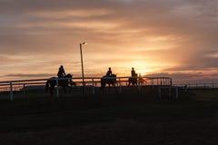 Paysage silhouetté par cavaliers de chevaux Images libres de droits
