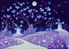Paysage souple nocturne avec des moulins à vent Photo stock