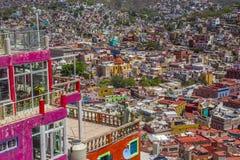 Paysage spectaculaire de panorama au-dessus de la ville de Guanajuato, Mexique Images stock