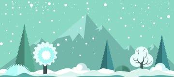 Paysage spectaculaire panoramique d'hiver froid avec les chutes de neige légères illustration libre de droits