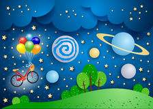 Paysage surréaliste avec de grandes planètes et bicyclette illustration libre de droits
