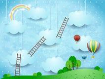Paysage surréaliste avec des échelles et des ballons à air chauds Image stock