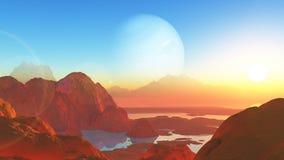 paysage surréaliste de style de 3D Mars illustration de vecteur