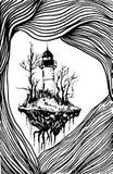 Paysage surréaliste, phare blanc noir, Illustration Libre de Droits