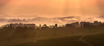 Paysage toscan pendant le matin photographie stock