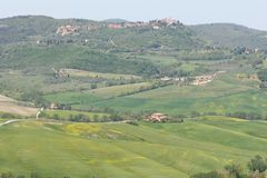 Paysage toscan, vallée près de Pienza, Italie photo libre de droits