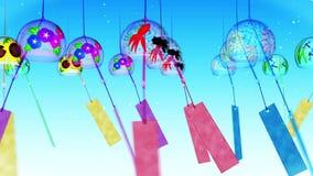 Paysage traditionnel japonais d'été avec le carillon de vent Cloche de vent colorée Animation de boucle illustration stock