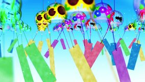 Paysage traditionnel japonais d'été avec le carillon de vent Cloche de vent colorée Animation de boucle illustration libre de droits