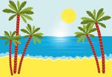 Paysage tropical avec la plage, la mer et les palmiers Illustration de Vecteur