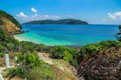 Paysage tropical de plage, mer d'Andaman Photographie stock