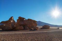 Paysage unique du désert de Siloli avec la pierre Tree Arbol de Piedra dans la vallée des roches, Bolivie photos libres de droits
