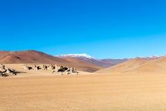 Paysage unique du désert de Siloli avec la pierre Tree Arbol de Piedra dans la vallée des roches, Bolivie image stock
