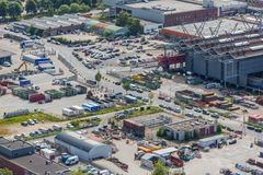 Paysage urbain aérien d'un site industriel de la Haye, Pays-Bas Image stock