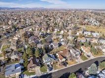 Paysage urbain aérien de Fort Collins image libre de droits