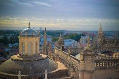 Paysage urbain aérien panoramique de ville de Séville de cathédrale, Espagne Photos stock