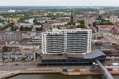 Paysage urbain Allemagne de Bremerhaven d'en haut Images libres de droits