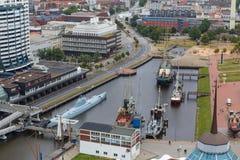 Paysage urbain Allemagne de Bremerhaven d'en haut Image stock