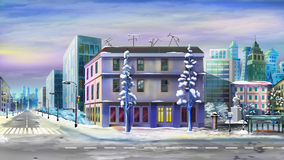 Paysage urbain après neige d'hiver illustration de vecteur