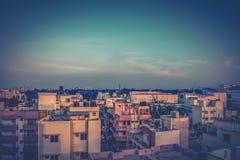 Paysage urbain au coucher du soleil Images libres de droits