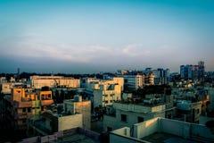 Paysage urbain au coucher du soleil Image libre de droits