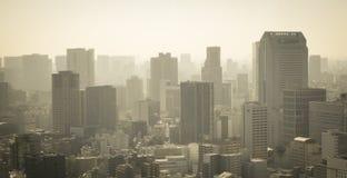 Paysage urbain au lever de soleil dans le brouillard Photographie stock libre de droits