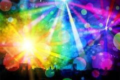 Paysage urbain avec des lumières de disco Image libre de droits