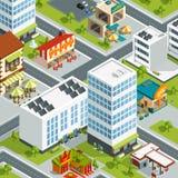 Paysage urbain avec des restaurants et des bâtiments de café Photographie stock libre de droits