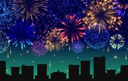 Paysage urbain avec l'illustration de vecteur de bannière de feux d'artifice de célébration Les lumières de fête montrent au-dess illustration de vecteur