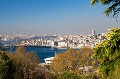 Paysage urbain avec la tour de Galata au-dessus du klaxon d'or à Istanbul, TU images libres de droits