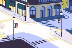 Paysage urbain avec le coin de la rue vide, les bâtiments élégants, carrefour avec des feux de signalisation et des passages pour Photos stock