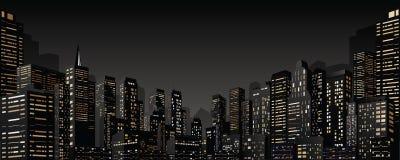Paysage urbain avec le groupe de gratte-ciel Drapeau de vecteur Images stock