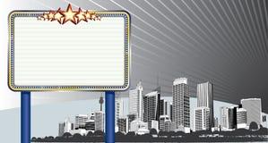 Paysage urbain avec le panneau-réclame Photo libre de droits
