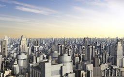 Paysage urbain avec les gratte-ciel futuristes