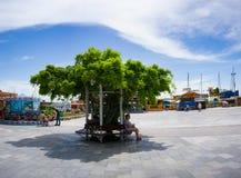 Paysage urbain avec un belvédère pour détendre la glycine enlacée photo libre de droits