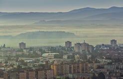 Paysage urbain brumeux de matin Images libres de droits