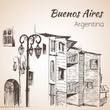 Paysage urbain Caminito de Buenos Aires l'argentine croquis illustration libre de droits