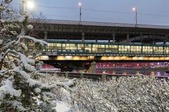 Paysage urbain couvert de neige d'hiver Moscou, Russie photographie stock libre de droits