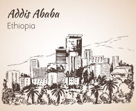 Paysage urbain d'Addis Ababa - Ethiopie croquis Photographie stock