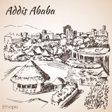 Paysage urbain d'Addis Ababa - Ethiopie croquis Photos stock